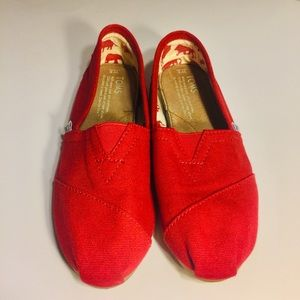 TOMS-Women's Red Canvas Slip on Shoes- 6.5